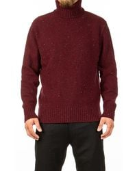Universal Works - Roll Neck Lambswool Fleck Red - Lyst