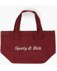 Sporty & Rich Classic Logo Tote Bag Burgundy - Red