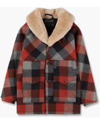 Filson Lined Wool Packer Coat Black/charcoal/rust - Red