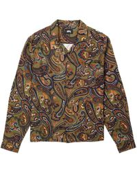 Stussy - Cypress Paisley Ls Shirt Olive - Lyst
