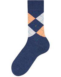 Burlington King Socks Blue/orange - Multicolour