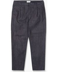 Still By Hand Denim Tapered Trousers Navy - Blue