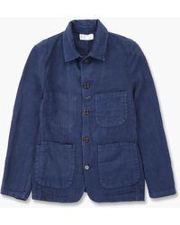 Universal Works Bakers Jacket Linen Indigo - Blue