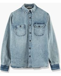 Rogue Territory Work Shirt Washed Out Indigo Selvedge Canvas - Blue