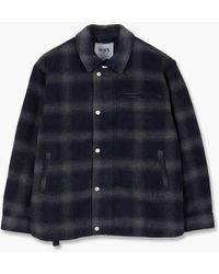 Wax London Hybrid Bomber Jacket Woolly Ombre Check Navy - Blue