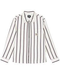 Stussy Zip Up Work Shirt Stripe - Black