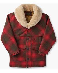 Filson Lined Wool Packer Coat Red/green/dark Brown Plaid - Multicolor