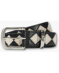 Stussy Argyle Stitch Leather Belt Black