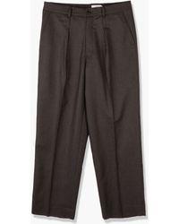 Still By Hand Wide Wool Trousers Dark Brown
