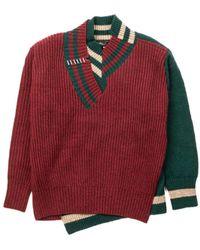 Kolor Fairisle Asymmetrical Knit Jumper A-wine Red