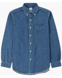 Orslow Button Down Shirt Denim Used Washed - Blue
