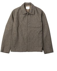 Still By Hand Zip-up Blouson Olive Check - Green