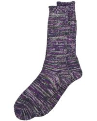 Anonymous Ism - Socks 5 Color Mix Crew Purple/olive - Lyst