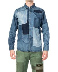 Japan Blue Jeans Revolve Military Denim Shirt Patched Indigo - Blue
