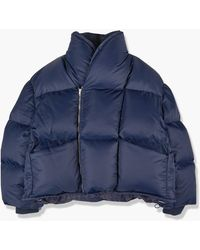 Hed Mayner Double Breasted Puffer Jacket Navy - Blue