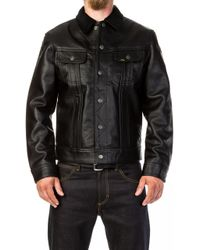 Lee Jeans - Leather Storm Rider Jacket Black - Lyst