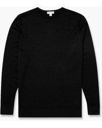 Sunspel Fine Merino Wool Jumper Black