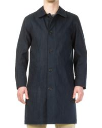 A.P.C. - Double Coat Dark Navy Stripe - Lyst