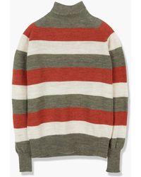 Nigel Cabourn Striped Seamless Roll Neck 8 Gauge Schoeller Knit Army/orange Stripe - Multicolour