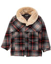 Filson Lined Wool Packer Coat Grey/red - Gray
