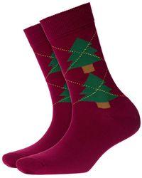 Burlington - Tannenargyle Socks Dark Red - Lyst