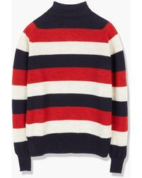 Nigel Cabourn Striped Seamless Roll Neck 8 Gauge Schoeller Knit Natural/black Navy - Red