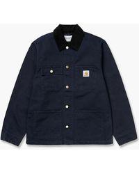 Carhartt WIP Michigan Coat Dark Navy/black Rinsed - Blue