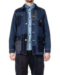 FDMTL Patchwork Coverall Denim Jacket Indigo Rinse - Blue
