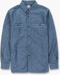 Orslow Chambray Work Shirt Blue