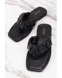 CUPSHE Black Orchid Ruched Thong Sandals