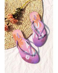 CUPSHE Sunburst Summer Print Flip Flops - Purple