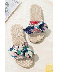 CUPSHE Spring Fling Tropical Bow Knot Slide Sandals - Blue