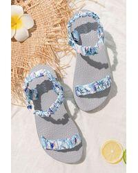 CUPSHE Globetrotter Ruched Ankle Strap Sandals - Blue