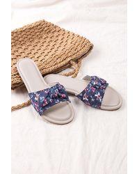 CUPSHE Flowerchild Bowknot Sandals - Blue