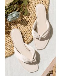 CUPSHE Hera Ruched Thong Sandals - White