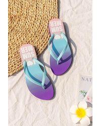 CUPSHE Summer Love Gradient Flip Flops - Blue
