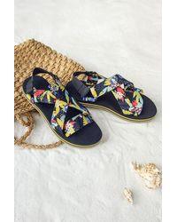 CUPSHE Hibiscus Crisscross Slingback Sandals - Blue