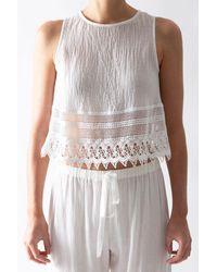 Miguelina Hailey Cotton Gauze Crop Top - White