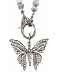 Vintage La Rose Butterfly Pendant - Metallic
