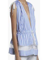 Maison Rabih Kayrouz Lace Trimmed Striped Poplin Top - Blue