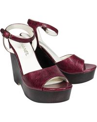 Chanel Leather Wine Red Wedges