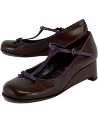Miu Miu - Brown & Purple Leather T-strap Wedges - Lyst