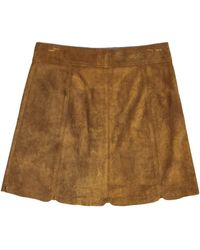 Isabel Marant Etoile - Tan Suede A-line Skirt - Brown