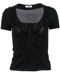 Moschino Black Knit Scoop Neck Ruffled Top
