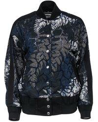 Sacai Black & Cream Sheer Tropical Lace Bomber Jacket