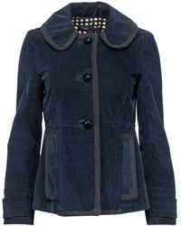Marc Jacobs Navy Corduroy Button-up Jacket W/ Floral Print Lining - Blue