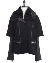 Roberto Cavalli Leather, Wool & Fur Jacket - Black