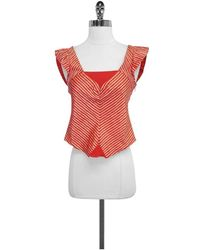 Marc Jacobs Red & White Striped Silk Cap Sleeve Top