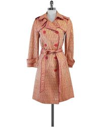 Marc Jacobs - Pink & Gold Brocade Trench Coat - Lyst