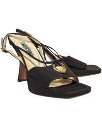 Moschino Brown Strappy Slingback Sandals W/ Golden Heart
